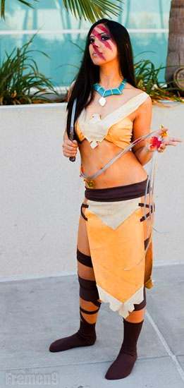 Costume court Pocahontas pour Halloween