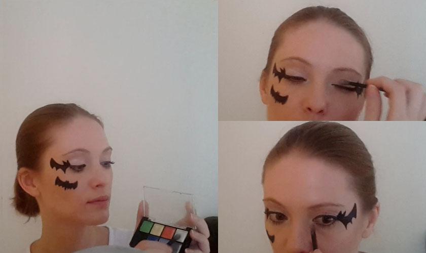 Maquillage simple pour Halloween - chauve-souris